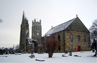 Kilwinning Old Parish Church and the ruins of the Abbey.
