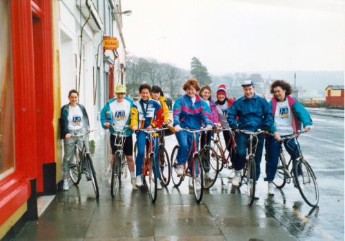 Sponsored cycling round Cumbrae is a very popular way to raise money for good causes. Here we see the Benefits Agency in 1991.