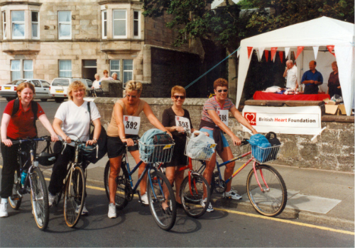 Another sponsored cycle round Cumbrae this time for the British Heart Foundation in 2000.