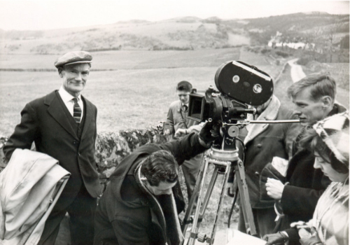 Duncan and a film crew at Ballikellet, Cumbrae.