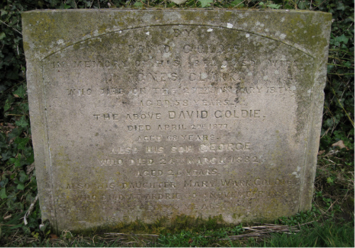 The Goldie family gravestone, which can be found in the Kirkton Graveyard, Millport.