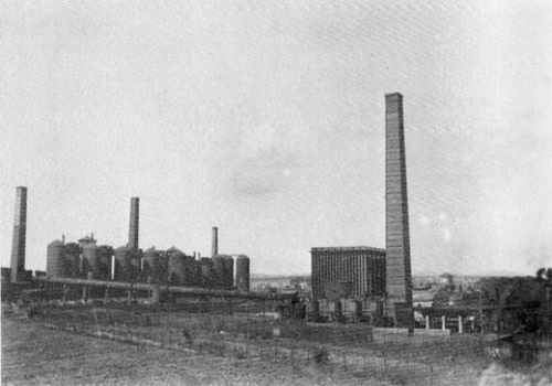 View of the blast furnaces at Eglinton Ironworks.