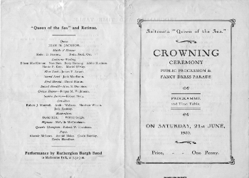 Queen of the Sea 1930 Programme. The programme and timetable for the 1930 Queen of the Sea Procession and Crowning. The Queen of the Sea pageant was inaugurated by the Town Council as part of the celebrations to mark the Quater Centenary (1528-1928) of the forming of Saltcoats into a Burgh of Barony.