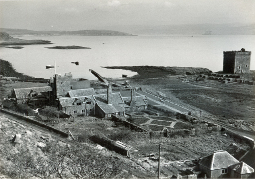Looking down on Little Cumbrae House - the Red and Gold Garden can be seen as can the small jetty.