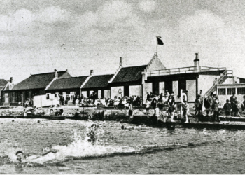 The old bathing station buildings extending from the original single room.