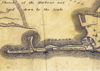 Plan of the extensions to Robert Cunninghame's harbour at Saltcoats. From an estate plan of 1811.