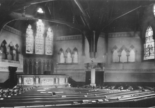 Interior of Trinity Church when it was in use as a place of worship.