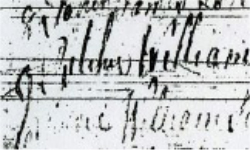 Baptism record of William from Stevenston Old Parish Records, 1755. It reads - Ritchie, William son to James Ritchie coal grieve in Stev. brn. 12th Feb bapt.