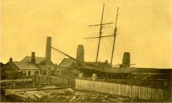 Saltcoats shipyards at The Braes. This is the last ship to be built in Saltcoats, The Maid, of Irvine.
